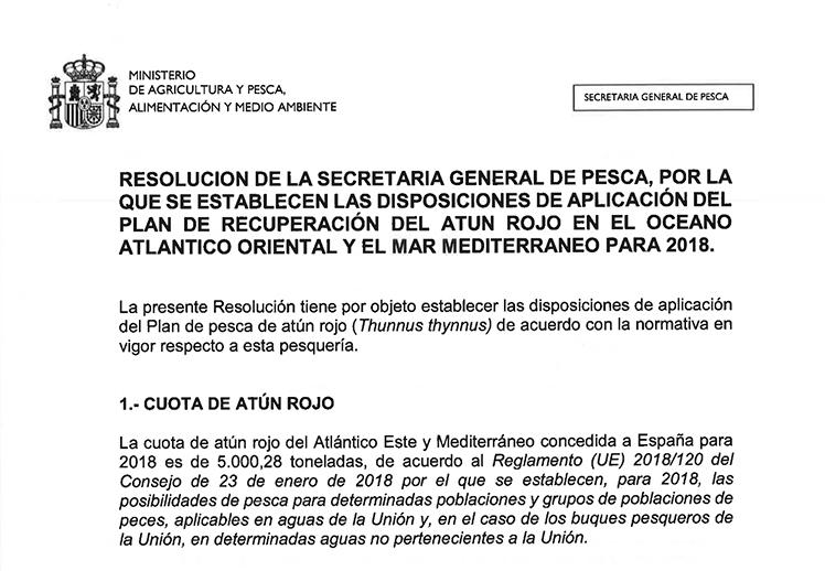 Resolución por la que se establecen las disposiciones de aplicación del plan de pesca de atún rojo. 2018.